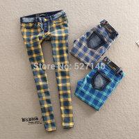 Denim fashion lattice preppystyle classic slim elastic skinny jeans female trousers