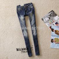 2014 Fornarina Dark Blue wearing white slim denim trousers narrow leg pencil jeans pants