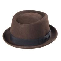 Hat male spring and autumn jazz hat fashion roll-up hem fedoras pure woolen short brim hat