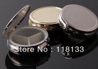Round Metal Pill Organizer Box of Medicine DIY Silver Color Boxes