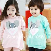 2013 autumn bugs bunny girls clothing baby child long design sweatshirt wt-1062