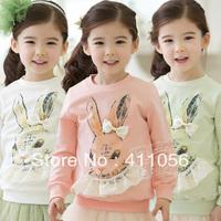 2013 autumn bow rabbit girls clothing baby child long-sleeve sweatshirt wt-1061