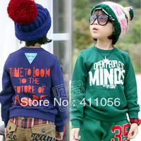 2013 autumn letter boys clothing girls clothing baby child fleece sweatshirt wt-0927