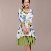 [LYNETTE'S CHINOISERIE - BE.DIFF] 2014 autumn rustic linen flower slim mid waist three quarter sleeve one-piece dress
