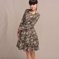 [LYNETTE'S CHINOISERIE - BE.DIFF] 2014 autumn original design long-sleeve linen slim one-piece dress