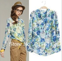 Free Shipping 2013 New Autumn Fashion Blouse For Women Blue Flower Printing Stand Collar Long Sleeve Casual Chiffon Shirt jz0818