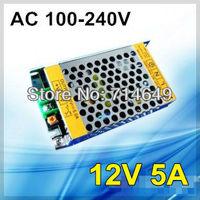 2pcs/lot, 60W 12V5A JUNKE Switching Power Supply, LED strip transformer 110V 220V, Metal case 12V 5A power supply, free shipping