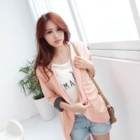 2013 Free Shipping Women's New Arrival Korea Lapel Seven Sleeve Cardigan Pattern Coat Pink GX12071308-1