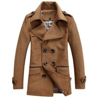 2013 male trench outerwear men's clothing thickening cashmere overcoat male turn-down collar double breasted trench male