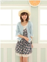 2013  Women's New Free Shipping  Lovely Design Short Coat Deep Blue/Light Blue MM11072601