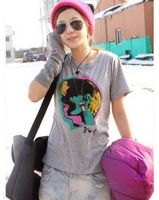 2013  Women's New Free Shipping  Color Portrayal Printed Short Sleeve T-Shirt Light Grey QM13070203