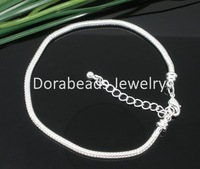 Free Shipping! 4 SP Snake Chain Bracelets Fit European Charm Bead 20cm (B05131)
