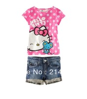 Free shipping hello kitty girl summer suits,dot kitty t-shirt + jeans 2 pcs, femal child short suits China Post 5sets/lot