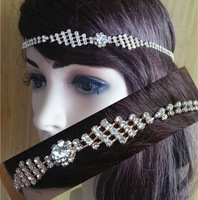 women's fashion diamond spark big crystal rhinestone Elastic hairband Head Wrap luxurious crown hair accessories