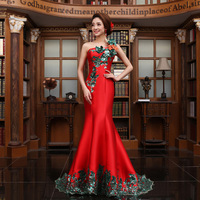 Free Shipping 2013 new arrival fashion slim long design one shoulder bridal train evening dress