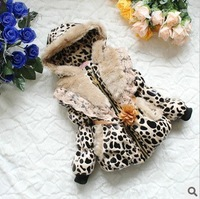 Retail 1PC leopard print lace fur coats for girls autumn winter outerwear children's jackets CCC190