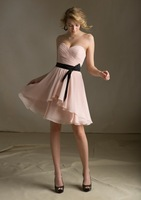 Sweetheart Black Waist Band Knee Length Bridesmaid Dress