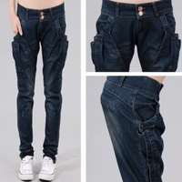 2013 new Double breasted denim harem pants women's long trousers mid waist plus size loose pencil pants