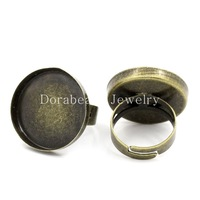 Free Shipping! Copper Rings Adjustable Round Disk Antique Bronze Cabochon Setting(Fits 23mm Dia) 17.9mm(US 7.5),10PCs  (B25545)