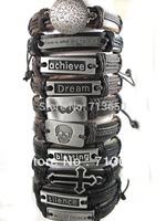 Hot! 10pcs Top Design Mixed Mens Fashion Leather Alloy Bracelets Wristbands Wholesale Jewelry Lots..Skull/Cross/World peace....