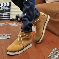13 autumn and winter male casual shoes plus velvet high fashion skateboarding shoes popular personality Wallabee martin boots