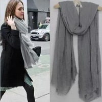 Spring and autumn of air conditioning cape fashion solid color scarf tassel female fluid all-match fluid silk scarf