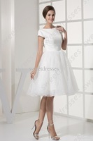 2013 new arrival bateau neck white short sleeves organza A-line knee length inform wedding dresses