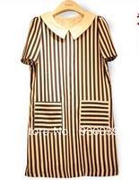 2013 new fashion & cute mini chiffon dresses women's summer casual / career brief clothing black and white striped