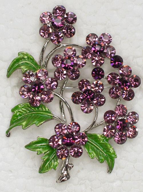Wholesale 12 pcs Purple Flower Crystal Brooch pin Prom Party jewelry gift,Fashion Apparel Enamel Rhinestone brooch C156(China (Mainland))