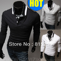 2013 Freeshipping new Exquisite placket solid color men bottoming shirt long-sleeved Slim T-shirt men shirts fashion 3 COLORS