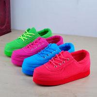 Candy lacing light solid color canvas platform shoes low women's shoes round toe shoes sneaker bread platform shoes