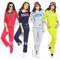 Autumn long-sleeve sportswear set women's plus size casual hoodies set fashion letter printed sport clothing setfree shipping