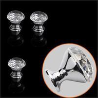 10 Pcs 30mm Cabinet Knob Cupboard Drawer Crystal Diamond Shape Glass Pull Handle