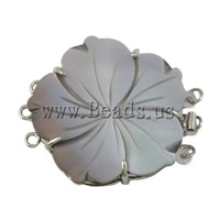 Free shipping!!!Shell Box Clasp,Jewelry 2013 Fashion, with Brass, Flower, 3-strand, 40x33x6mm, Hole:Approx 1.5mm, Sold By PC