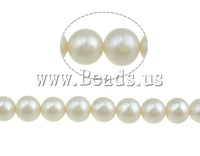 Free shipping!!!Round Cultured Freshwater Pearl Beads,Kawaii,, natural, white, 9-10mm, Hole:Approx 0.8mm, Length:16 Inch