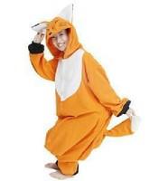 Coral fleece cartoon animal fox lovers one piece sleepwear lounge  kigurumi pajamas