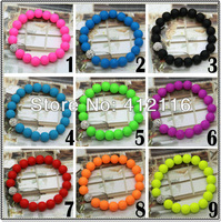 Wholesale 2013 Hot Neon Bracelet fluorescence Color Beads Disco Shamballa Ball stand stretch bracelets handcraft Women jewelry