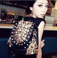 2014 button vintage fashion bag vintage bagwith three women's handbag hot  school bag free shipping