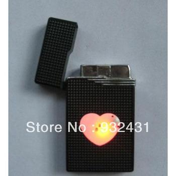 #JC008 Luxury Windproof LED Flash Dolphin Heart Design Metal Portable Butane Flame Gas Cigarette Lighter