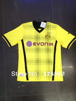 13/14 new season best thai quality Borussia Dortmund home soccer jersey shirt free shipping