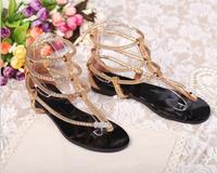 2013 gz summer flat heel sandals flip metal serpiform rhinestone genuine leather women's shoes