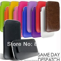 Free shipping  13Colors PU Leather Pull Tab Pouch Case Cover For Samsung Galaxy S4 SIIIl I9500