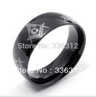 RA1122108 black Stainless Steel freeman masonic Ring mens brand cool U.S size 6 7 8 9 10 11 12 13 14 15
