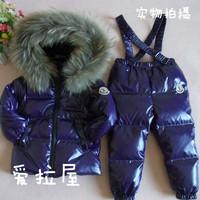 Free shipping Child set male female child short design children's clothing down coat winter coat