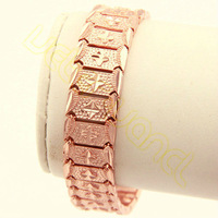 Wholesale&Retail Free Shipping Men's Boy's  Super Cool  Huge 15MM 21.1CM  Rose Gold Filled Bracelet ML25