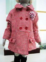 Children's clothing red houndstooth woolen wadded jacket children outerwear overcoat 118032