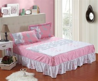 Cotton stripe 100% slanting cotton-padded quilting bed skirt thickening thermal bedspread bed sets laciness bed skirt