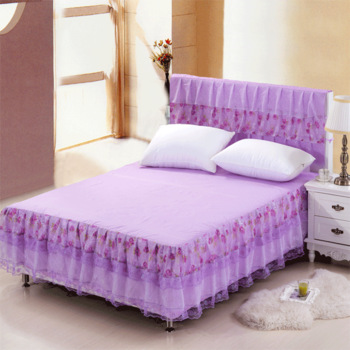 100% cotton lace bed skirt fitted bed cover bedspread bed sets cotton-padded bed hinge ofhead set bedding
