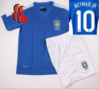 A+++ 2014 Top Quality Brazil Brasil Neymar JR KIDS Thai Soccer Jersey Kits Away Blue Blank Football Suit Sports Shorts Custom