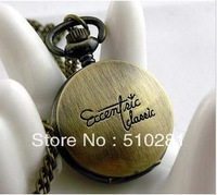 Round High Quality Bronze Decorative Pattern No Cover Glass Pocket Watch 10pcs/lot#(free Ship)